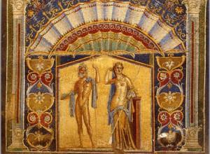 mozaïk afbeelding man en vrouw in badhuis in Herculaneum