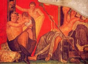 kleurrijke muurschildering in Pompeii